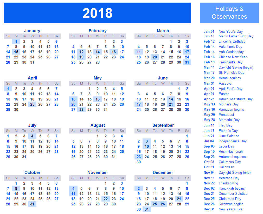 Printable 2018 calendar with holidays