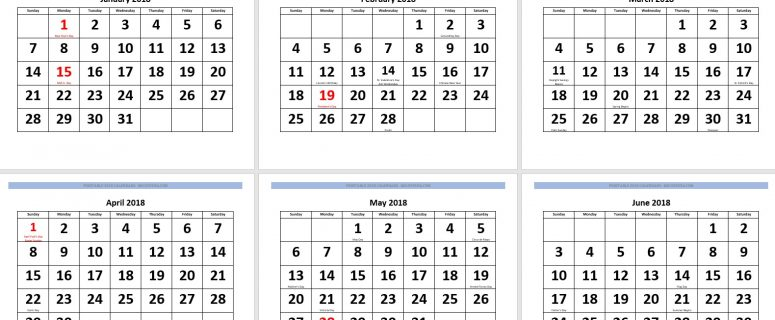 calendar 2018 large and bold