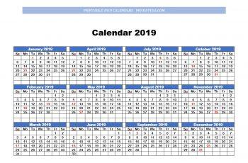 one page printable calendar 2019
