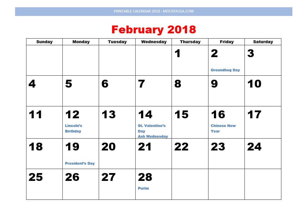 printable calendar february 2018