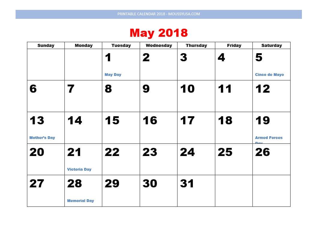 printable calendar may 2018