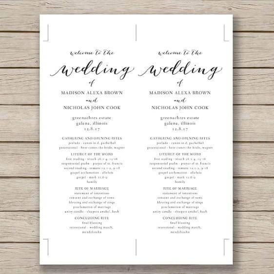 Print Ready Wedding Program templatess