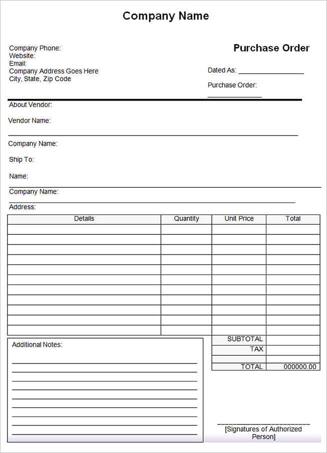 Sample Purchase Order Format