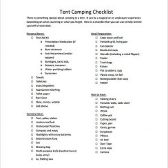 Tent Camping Checklist Format