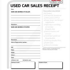 Used Car Sale Receipt