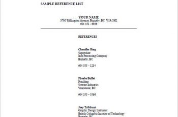 professional reference list templates