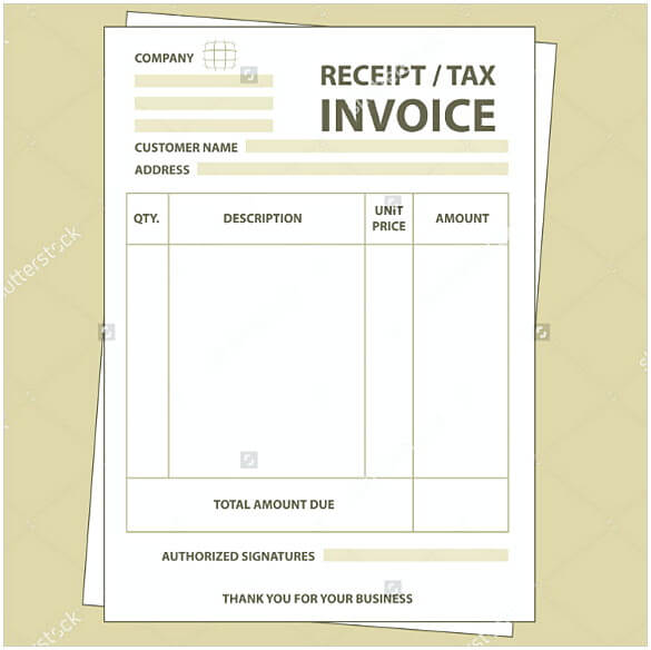 Blank paper tax invoice form