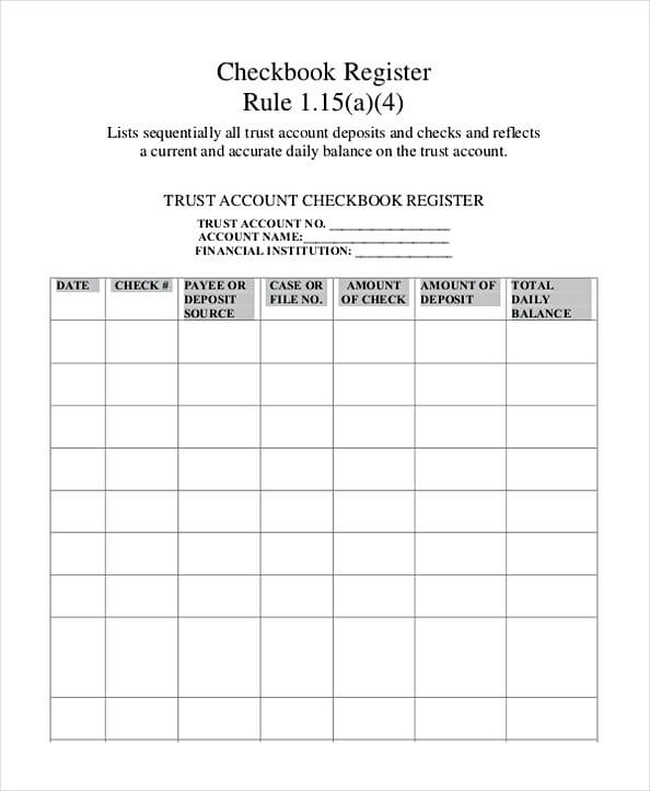 printable check register template sample