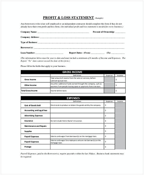 Download Profit Loss Statement Template Sample