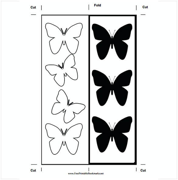 Free Butterfly Monochrome Bookmark Template