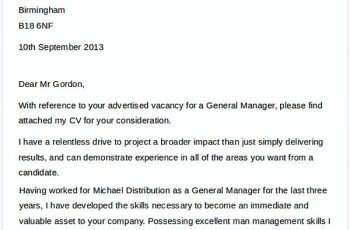 General Manager Job Application Letter