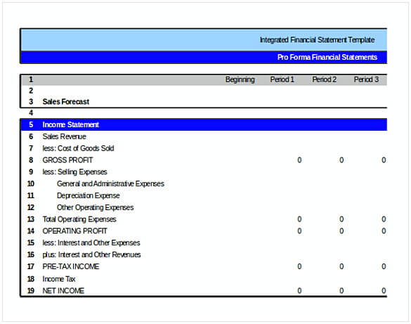Integrated Financial Statement Template in Excel
