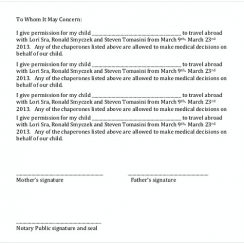 Notary Letter for Travel