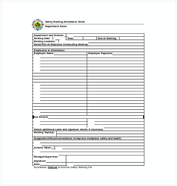 Safety Meeting Attendance Sheet Word Template Free Download 1