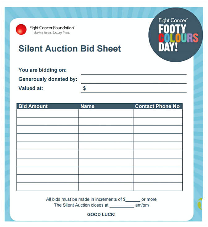 50  free download silent auction bid sheet  u2013 how to run a