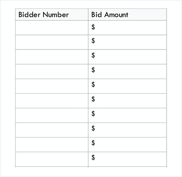 picture regarding Printable Silent Auction Bid Sheets referred to as 50+ Absolutely free Down load Tranquil Auction Bid Sheet How In direction of Work A