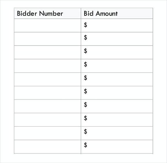 Silent Auction Bid Sheet Template