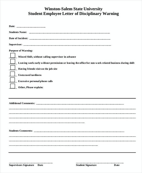 employee write up form sample