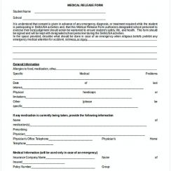 Student Medical Release Form Example 1