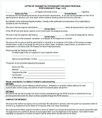 Transmittal Letter for Proposal