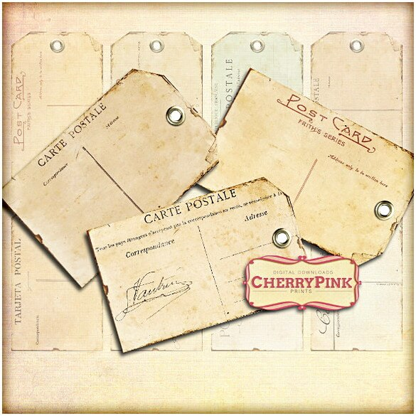 Vintage Poatcard Gift Tag Printable Template