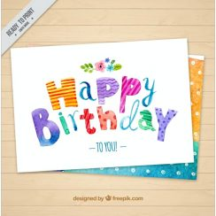 Watercolor Free Birthday Card with Dots