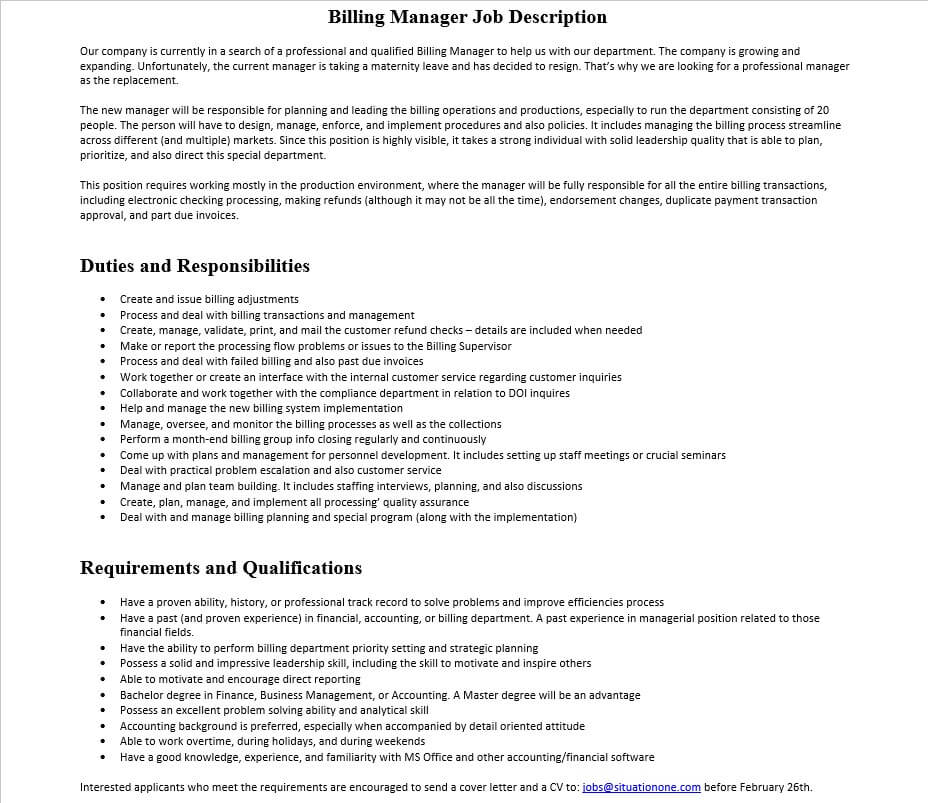 Billing Manager Job Description | Mous Syusa