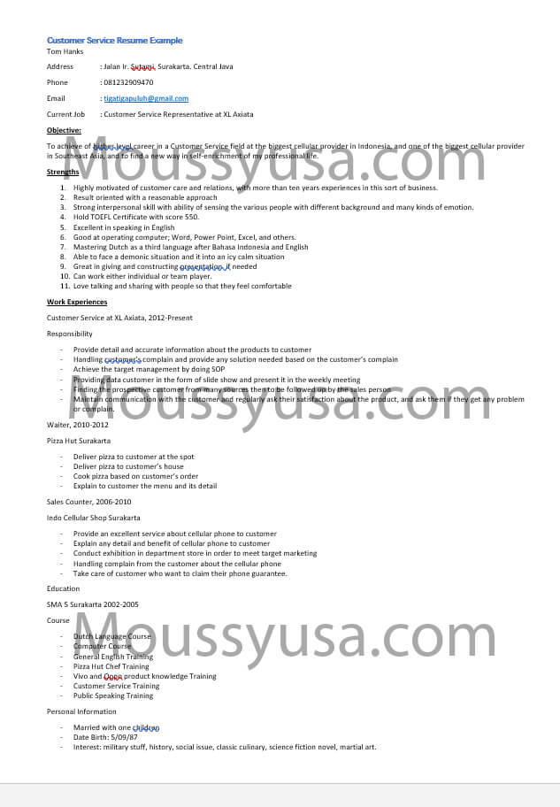 Customer Service Resume Sample and Job Description