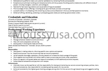 Restaurant Server Resume Sample and Job Description