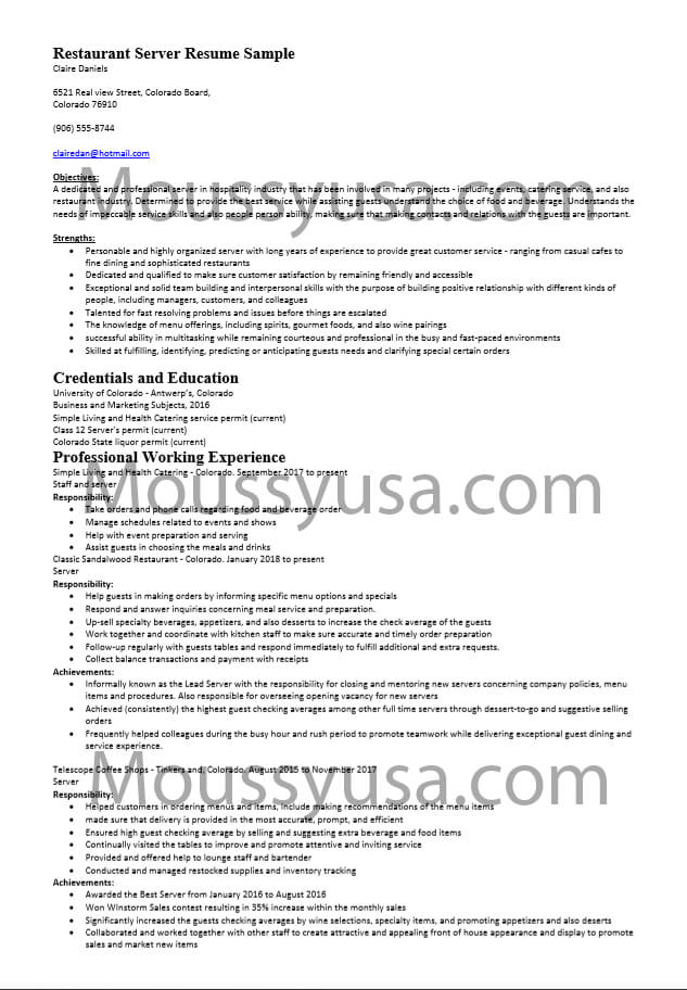 restaurant server resume sample and job description