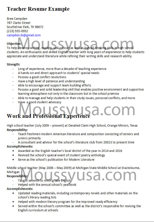 Teacher Resume Examples and Descriptions