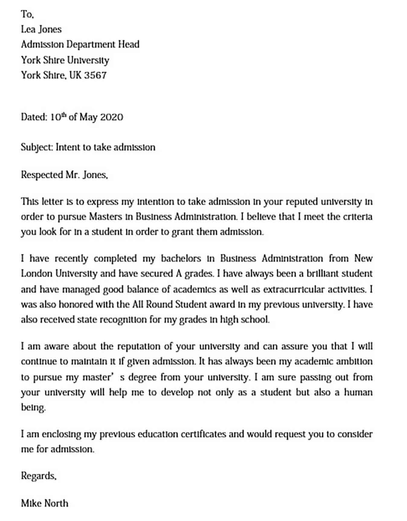 Academic Letter of Intent