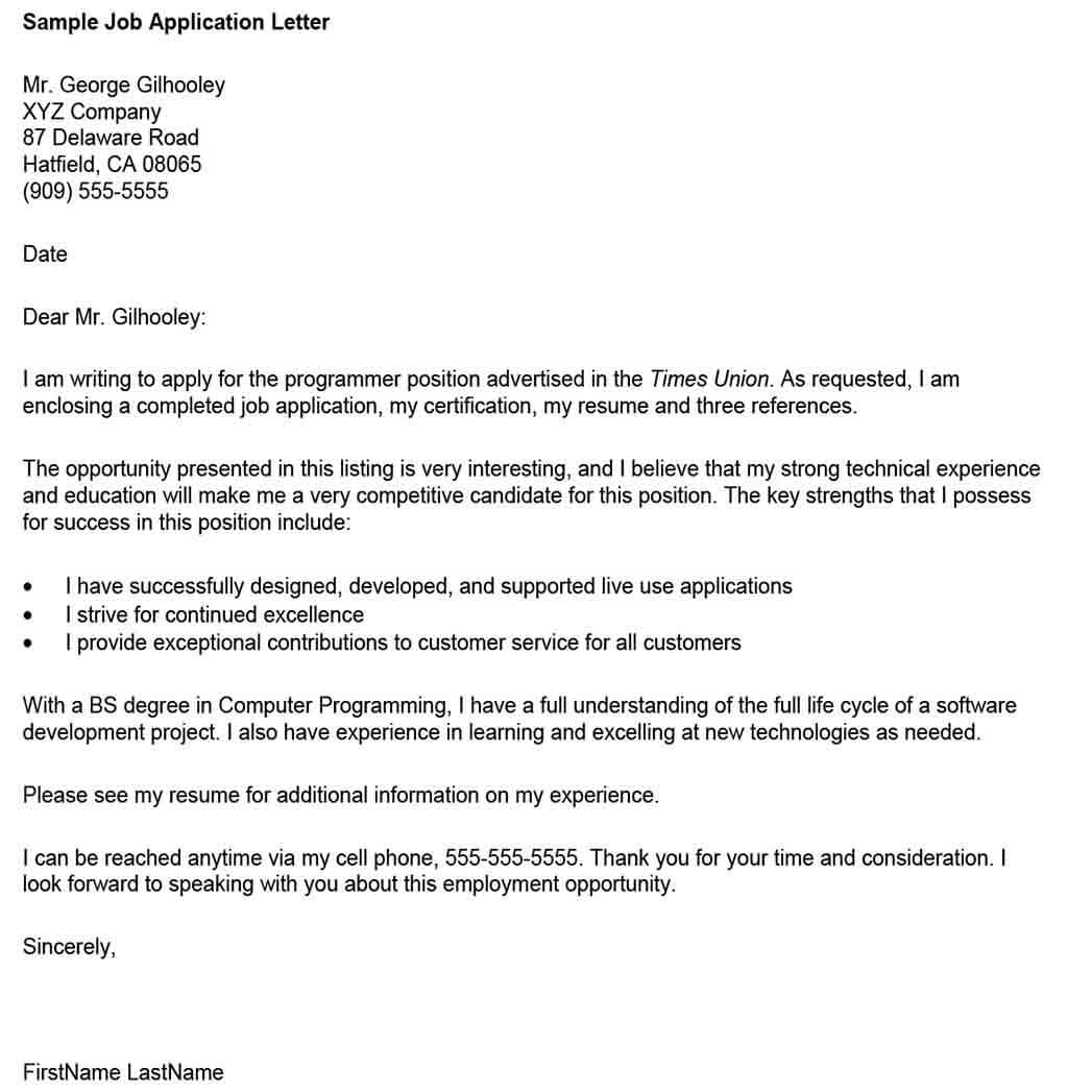 Application for Employment Letter Format