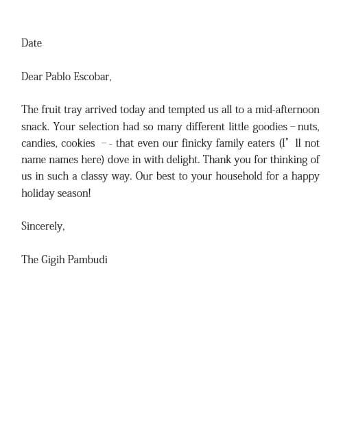 Appreciation Letter for Christmas Gift