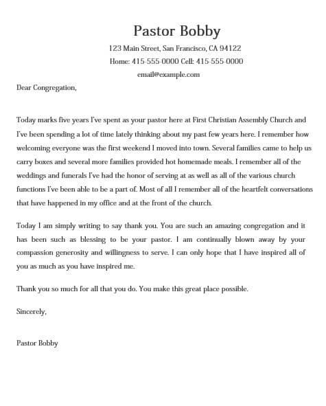 Appreciation Letter for Church Services