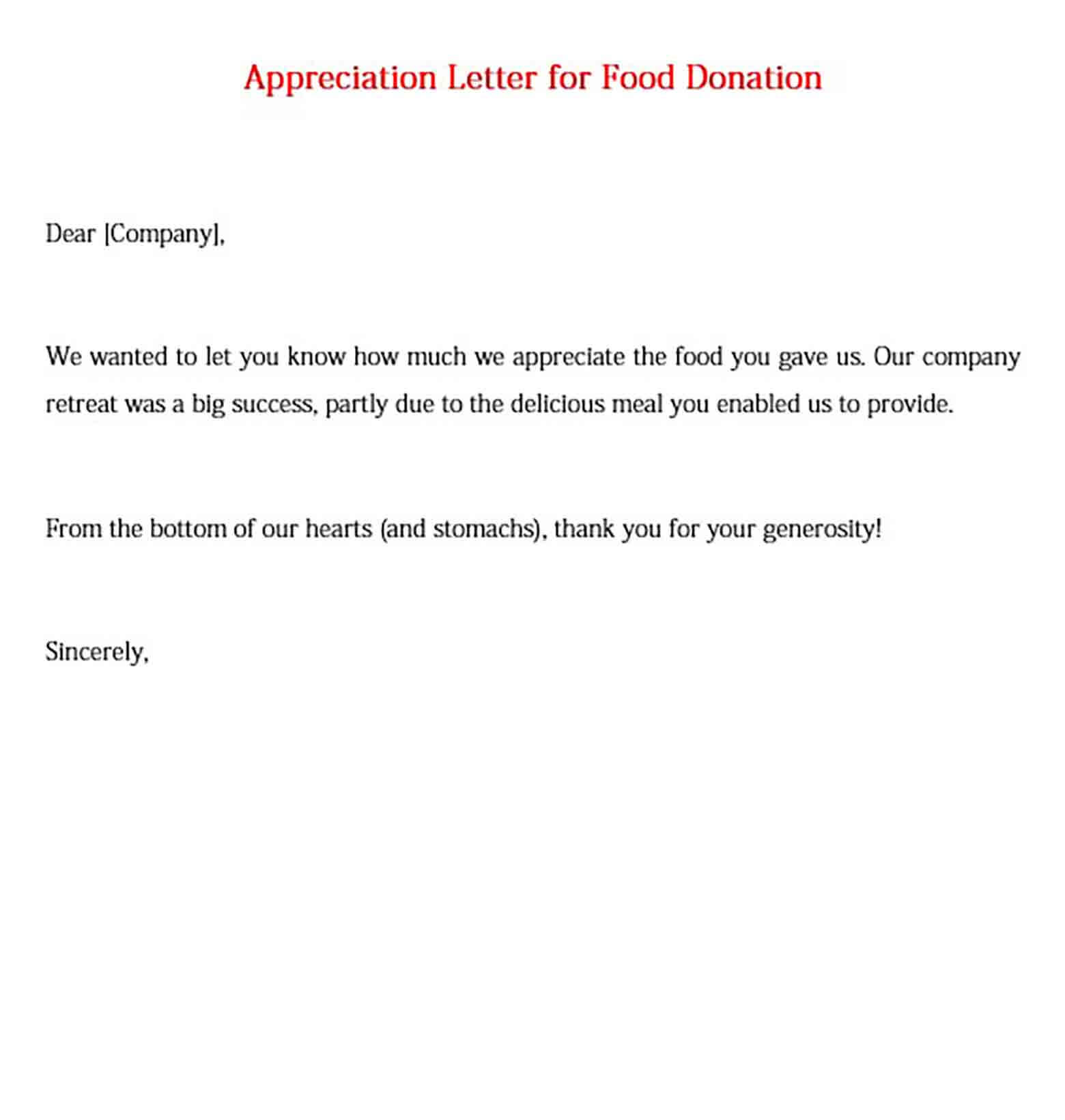 Appreciation Letter for Food Donation