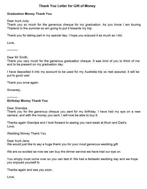 Appreciation Letter for Money Gift
