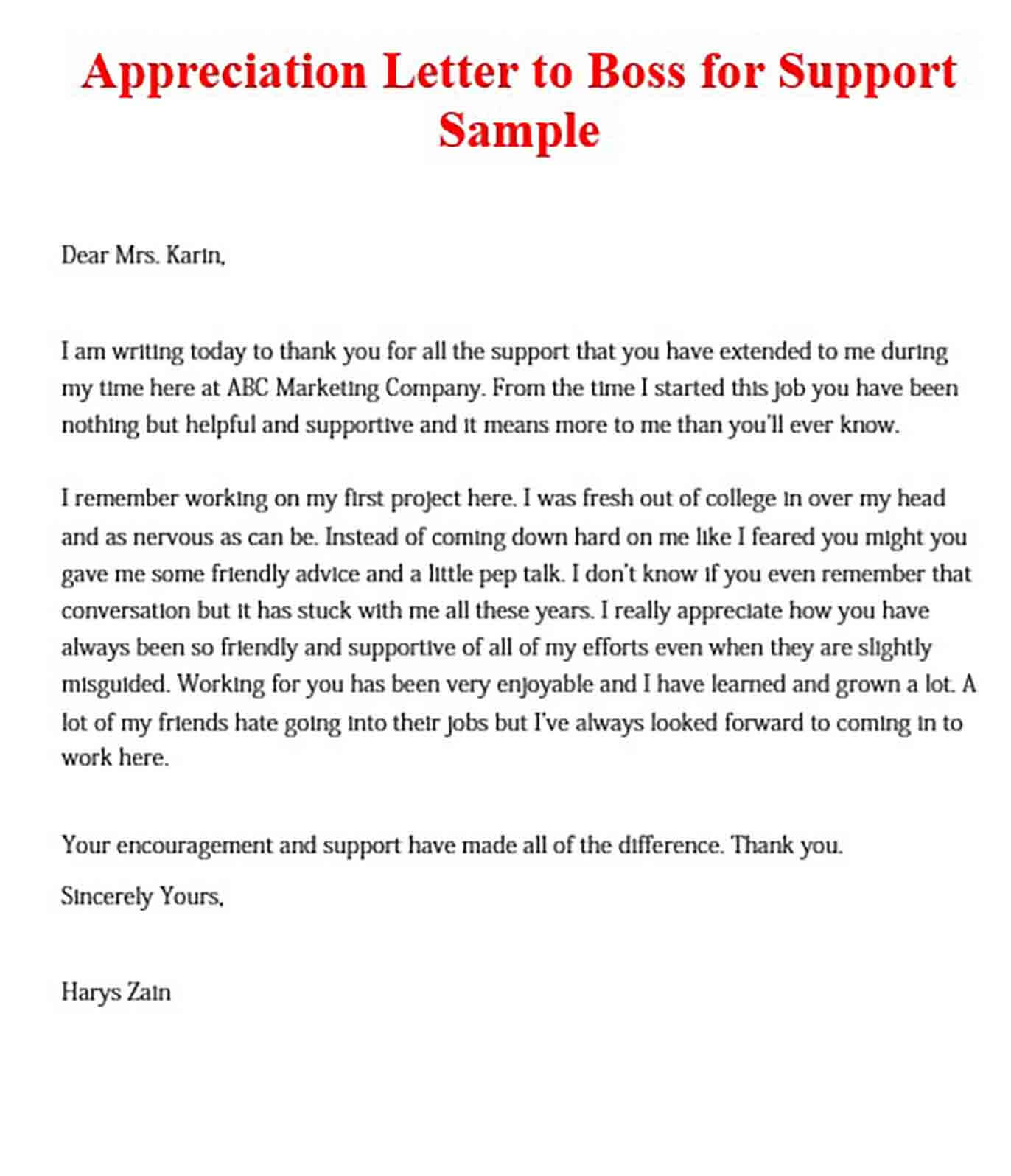 Appreciation Letter to Boss for Support Sample