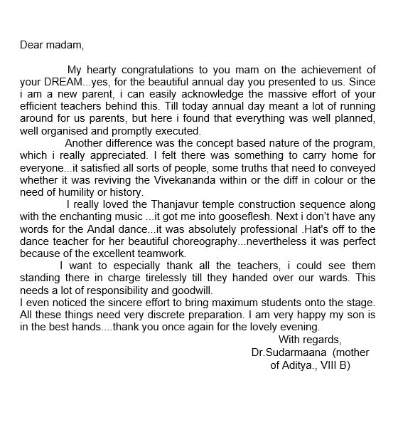 Appreciation Letter to Teacher From Parents