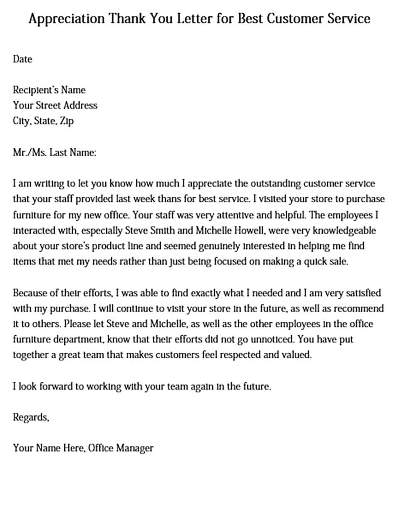 Appreciation Thank You Letter for Best Customer Service