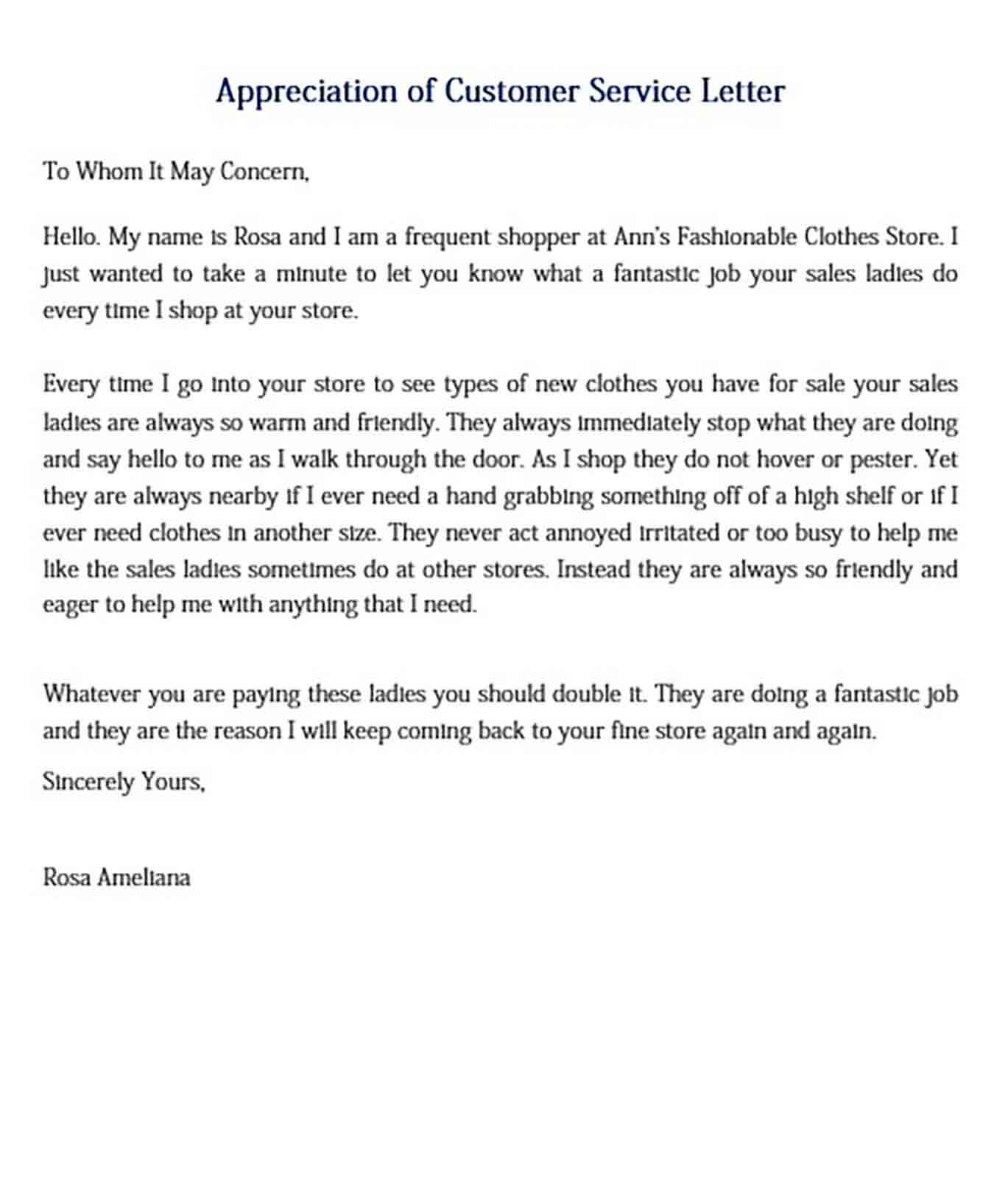 Appreciation of Customer Service Letter