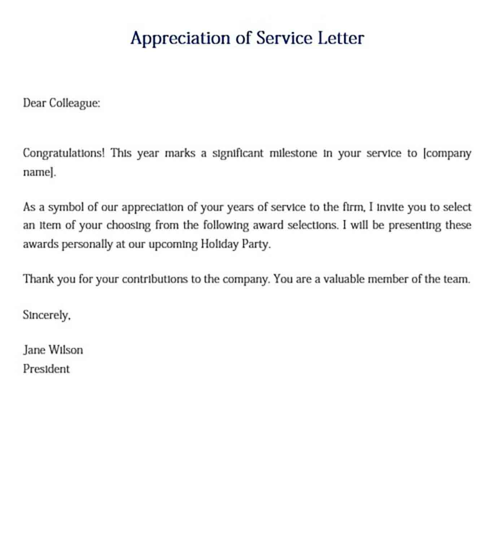 Appreciation of Service Letter Sample
