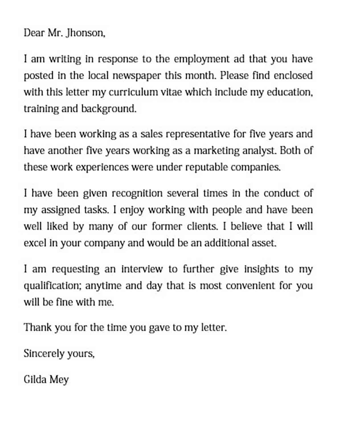 Basic Employement Cover Letter