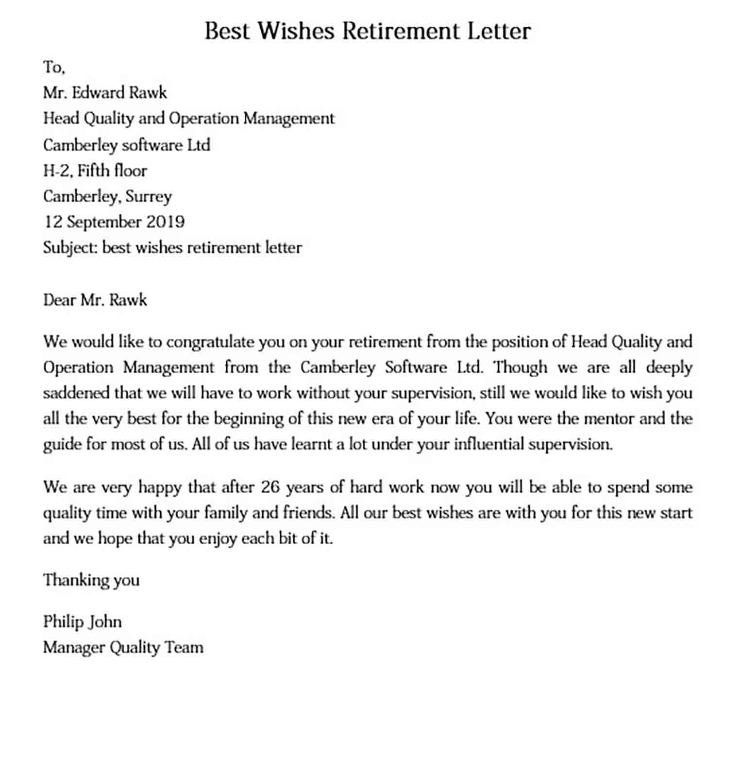 Best Wishes Retirement Letter