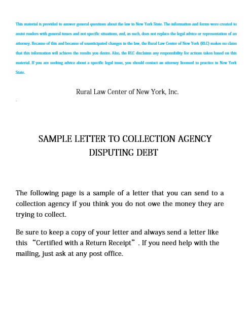 Bill Collection Dispute Letter