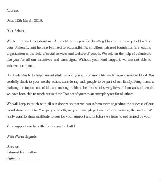 Blood Donation Appreciation Letter