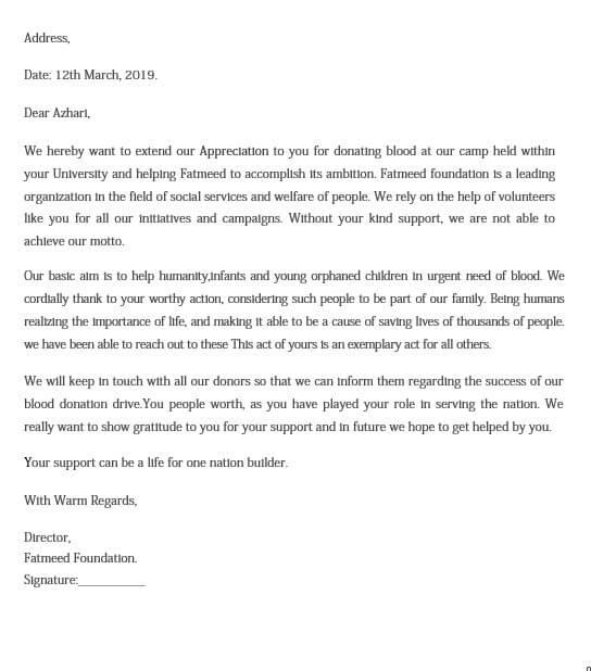 Blood Donation Appreciation Letter