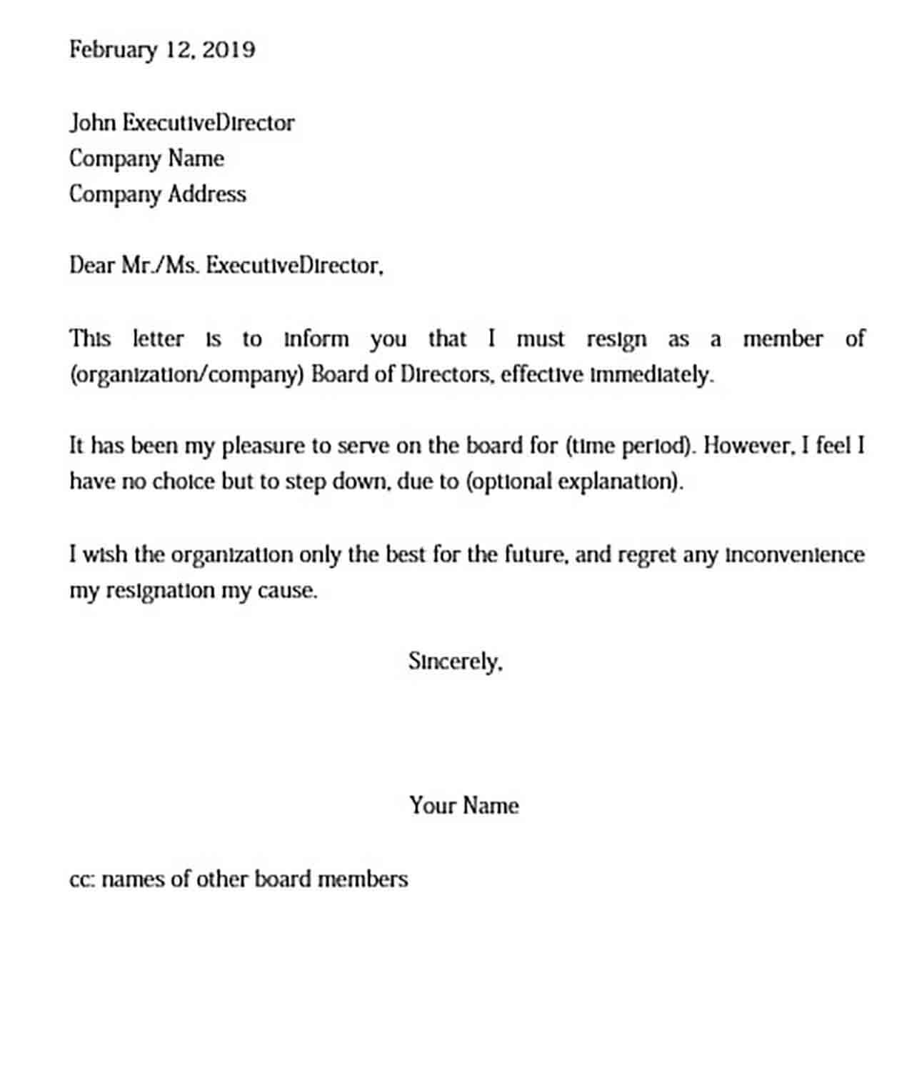 Board of Directors Resignation Letter