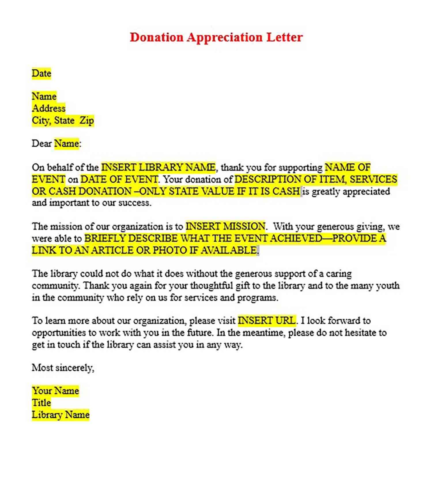 Books Donation Appreciation Letter