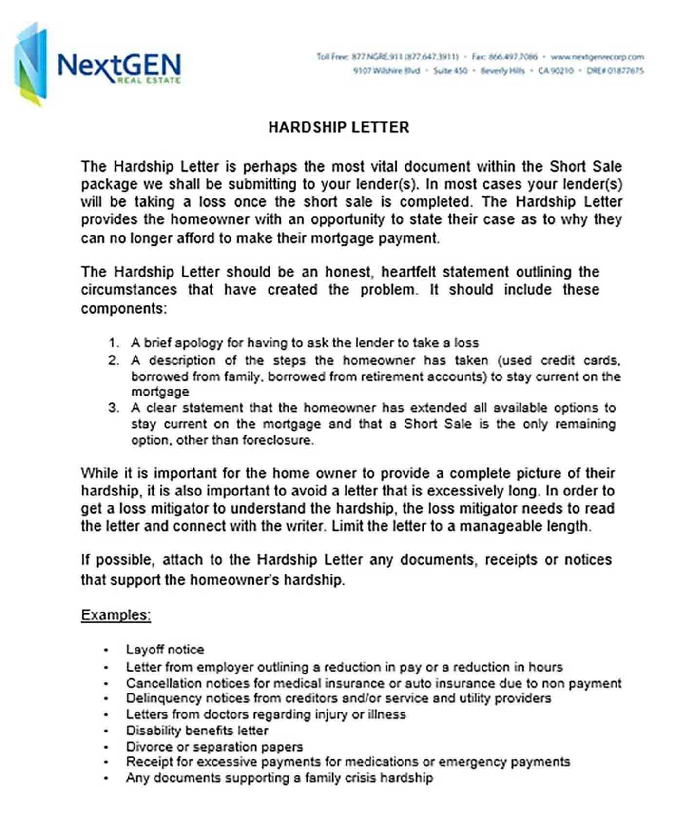 Borrower Financial Hardship Letter